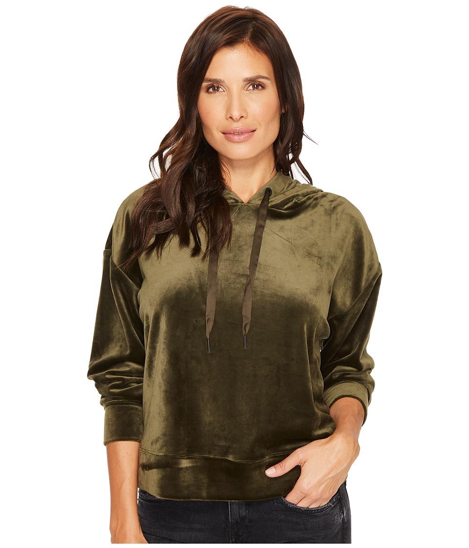 Sanctuary Melrose Brigade Velour Hoodie Sweatshirt (Fatig...