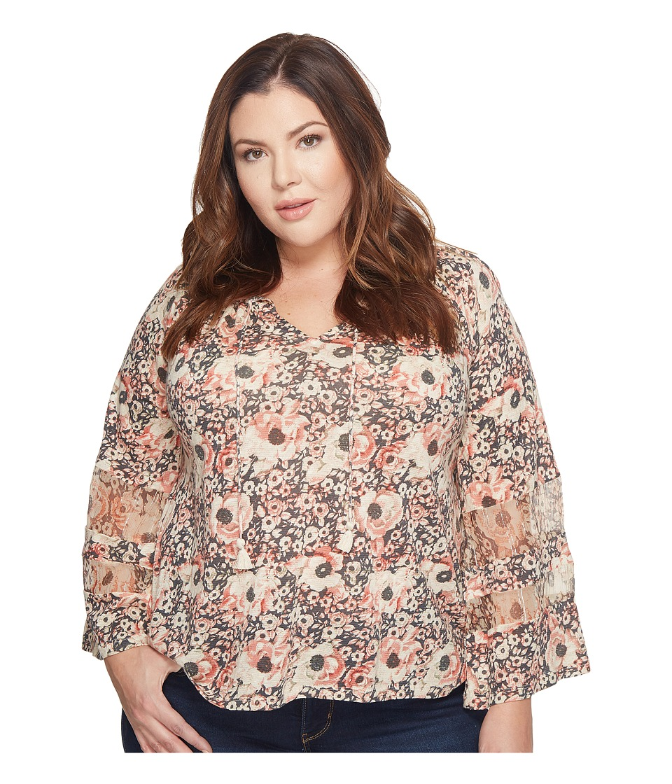 Lucky Brand - Plus Size Printed Mix Top (Blush Multi) Women's Long Sleeve Pullover -  adult