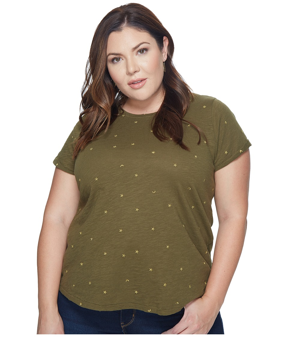 Lucky Brand Plus Size All Over Embroidered Tee (Dark Olive) Women