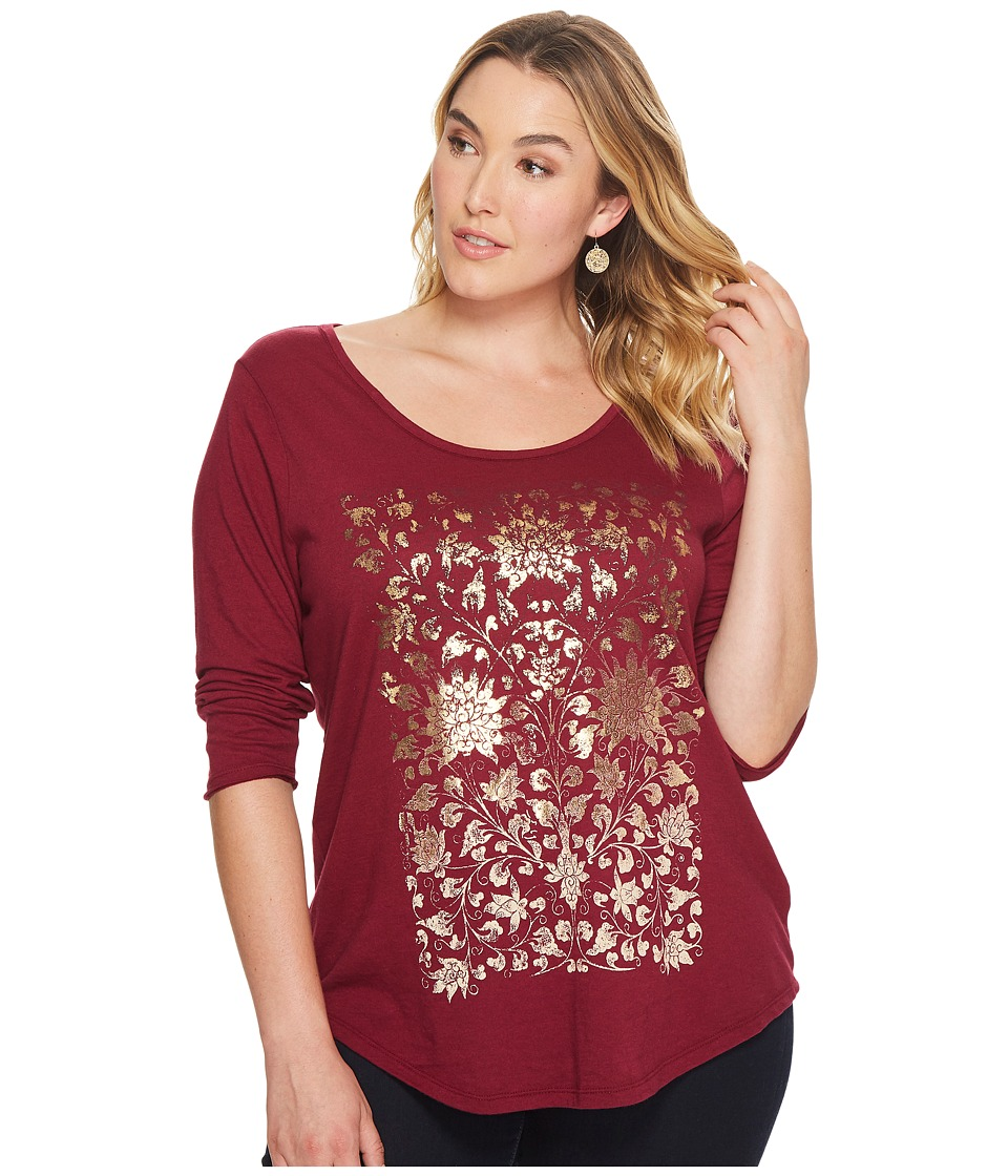 Lucky Brand Plus Size Floral Foil Tee (Berry) Women