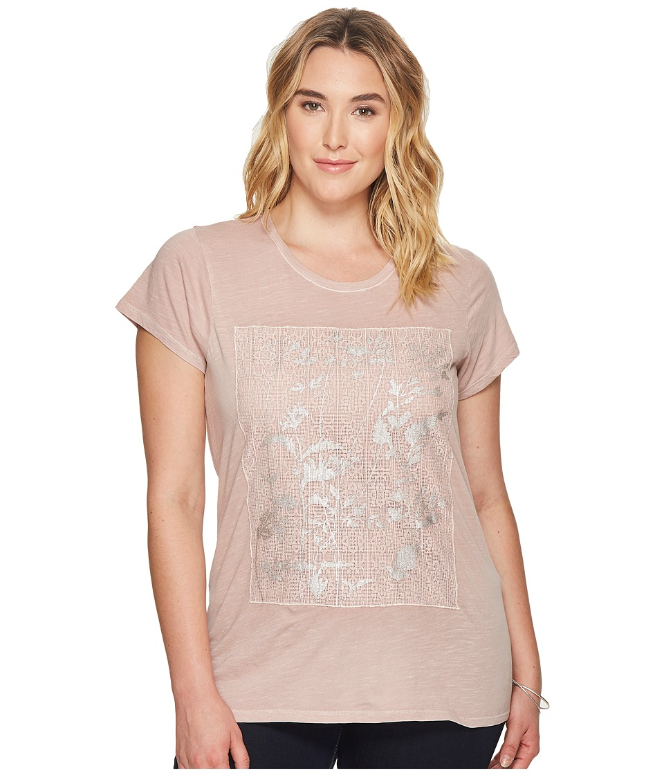 Lucky Brand Plus Size Printed Lace Tee (Shadow Grey) Women