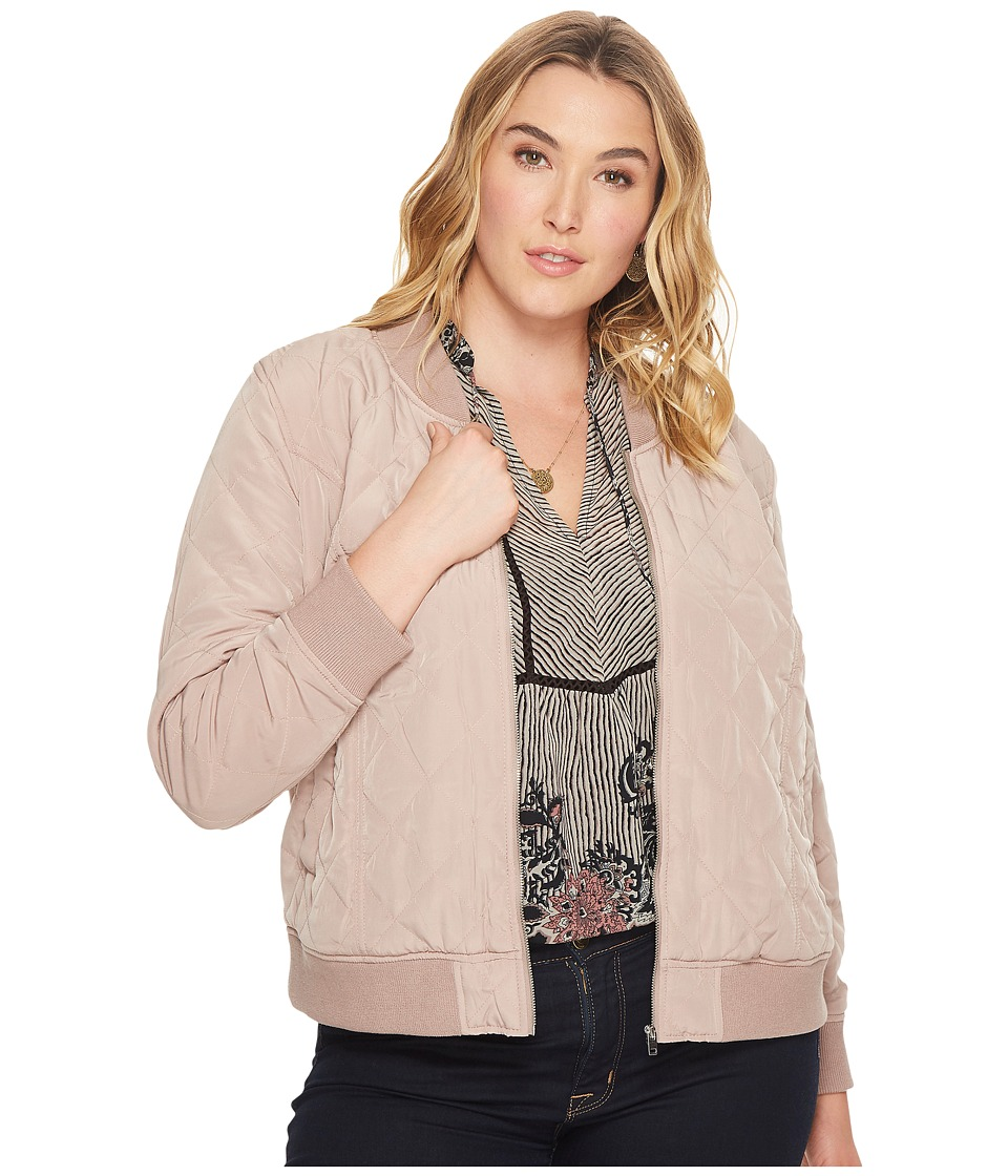 Lucky Brand Plus Size Quilted Bomber Jacket (Dark Blush) Women