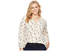 Lucky Brand Plus Size Ditsy Peasant Top