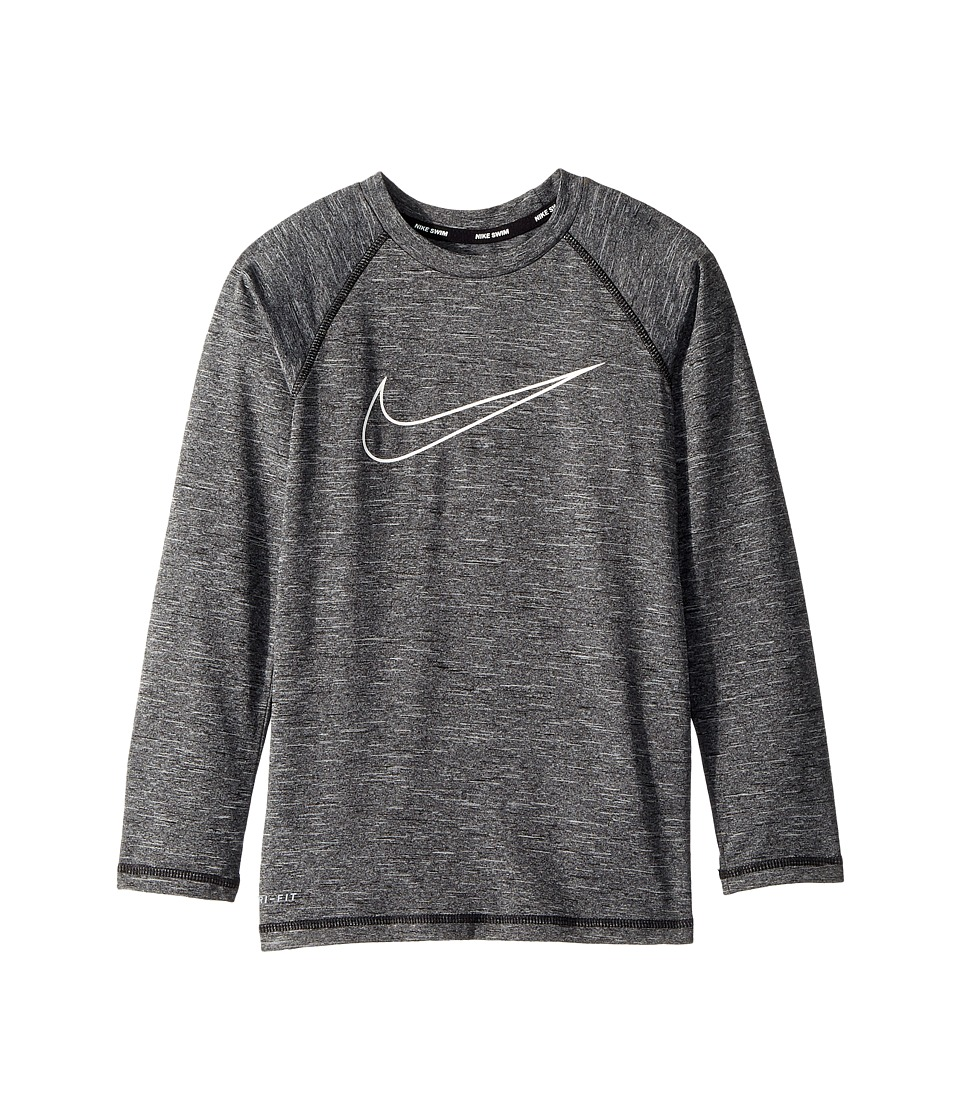 Nike Kids - Heather Swoosh Long Sleeve Hydroguard (Big Kids) (Black) Boys Swimwear