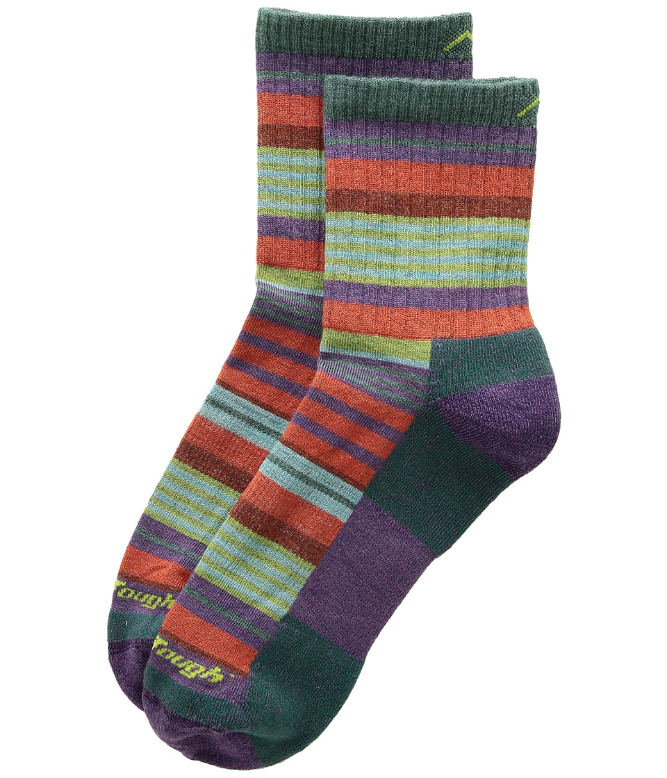 Darn Tough Vermont Sierra Stripe Micro Crew Light Cushion Socks (Toddler/Little Kid/Big Kid) (Teal) Crew Cut Socks Shoes
