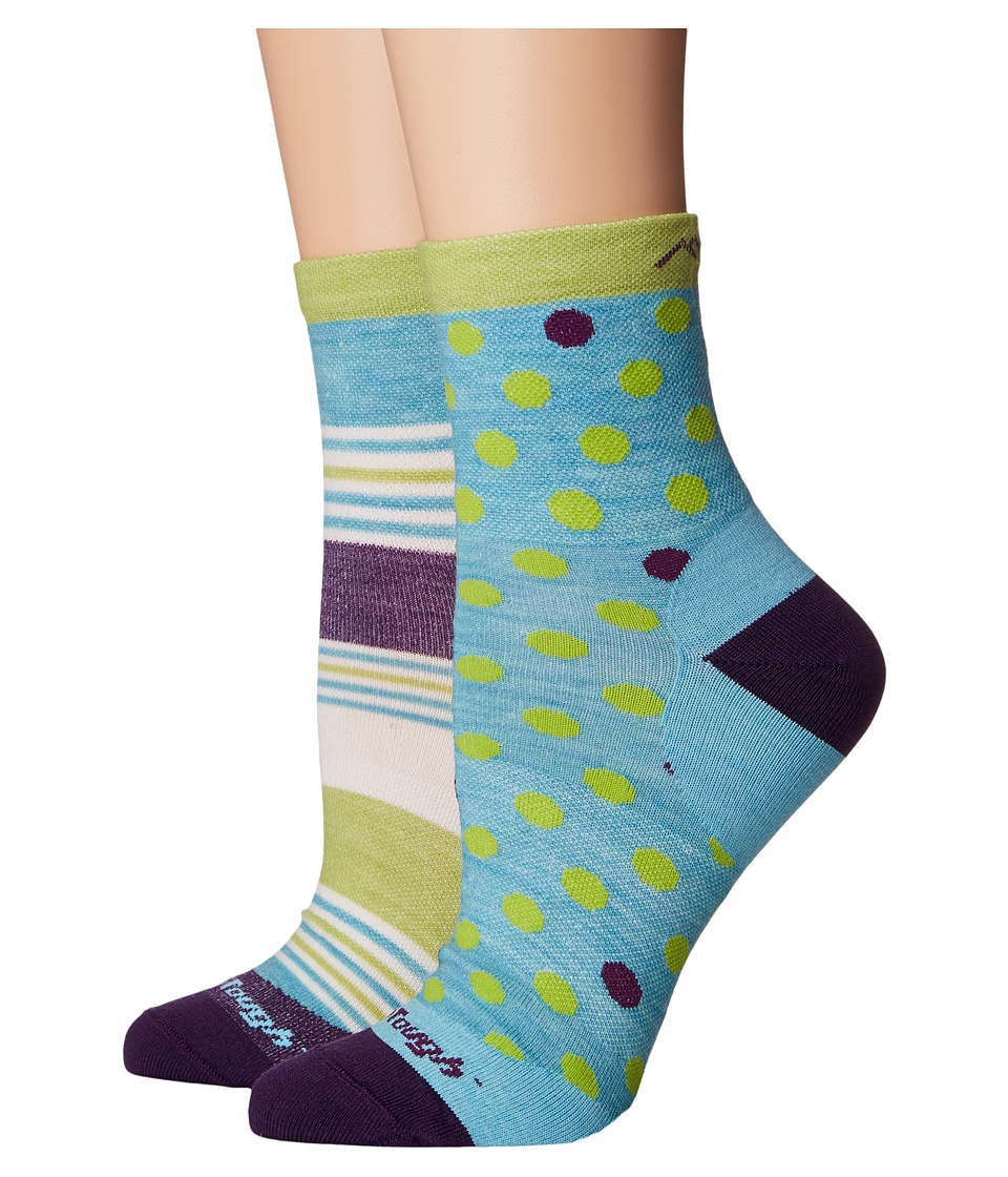 Darn Tough Vermont Dot and Stripe Crew Light Socks (Toddler/Little Kid/Big Kid) (Aqua) Crew Cut Socks Shoes