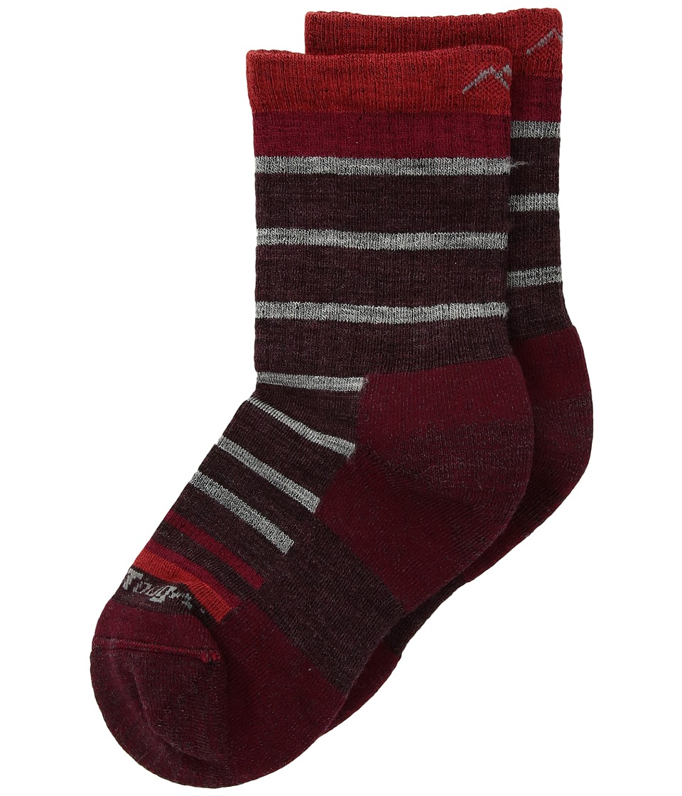 Darn Tough Vermont - Via Ferrata Micro Crew Light Cushion Socks (Toddler/Little Kid/Big Kid) (Maroon) Crew Cut Socks Shoes