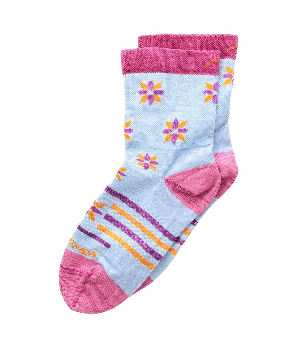 Darn Tough Vermont Indie Floral Crew Light Socks (Toddler/Little Kid/Big Kid) (Sky) Crew Cut Socks Shoes
