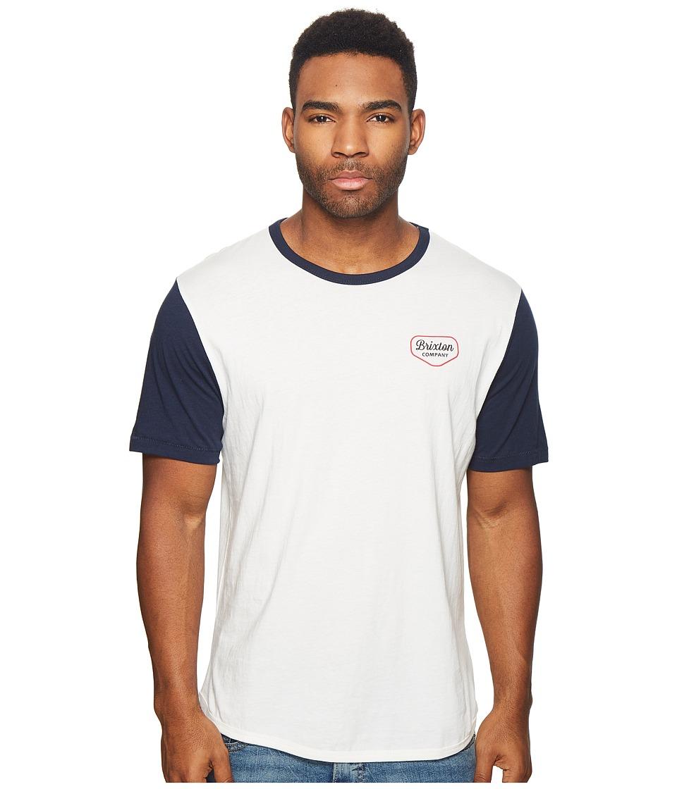 Brixton - Novato Short Sleeve Knit Shirt (Off-White/Navy) Mens Short Sleeve Knit