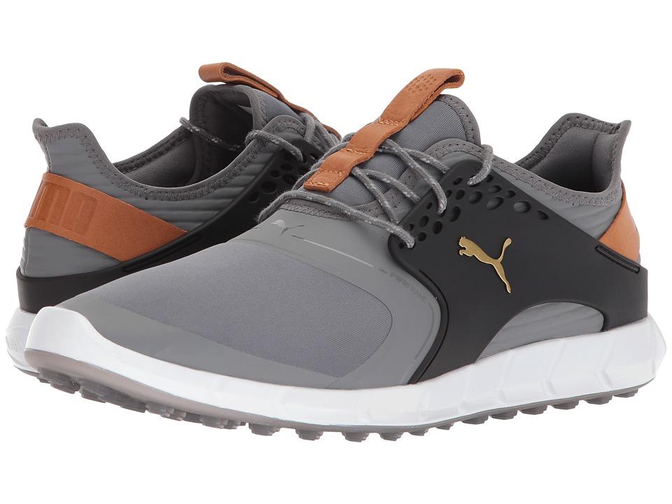 PUMA Golf - Ignite Power Sport (Quiet Shade/Puma Team Gold/Puma Black) Mens Golf Shoes