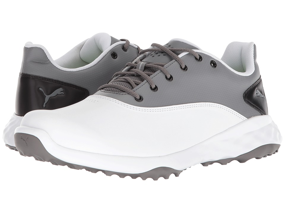 PUMA Golf - Grip Fusion (Puma White/Quiet Shade/Puma Black) Mens Golf Shoes