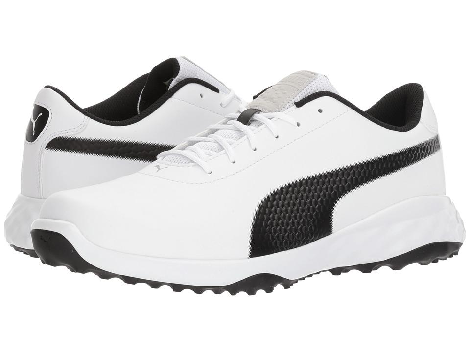 PUMA Golf - Grip Fusion Classic (Puma White/Puma Black) Mens Golf Shoes