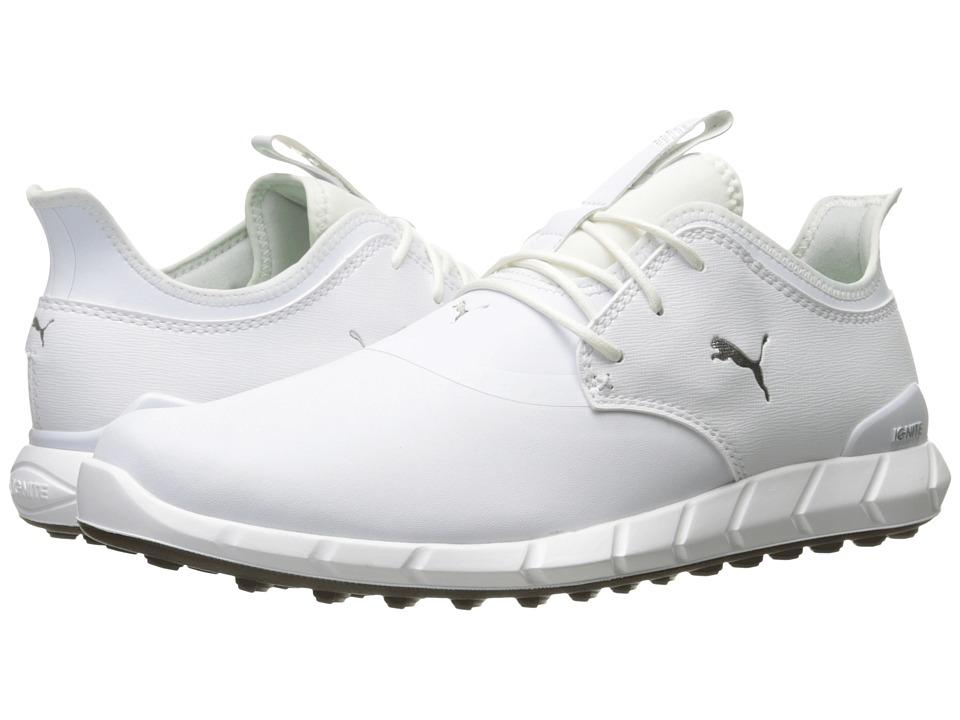 PUMA Golf - Ignite Spikeless Pro (Puma White/Puma White/Puma Silver) Mens Golf Shoes
