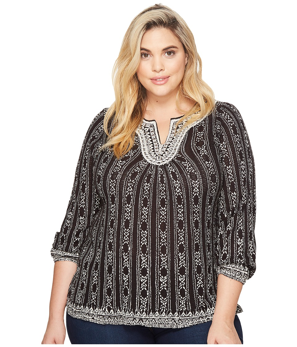 Lucky Brand Plus Size Embroidered Top (Black Multi) Women...