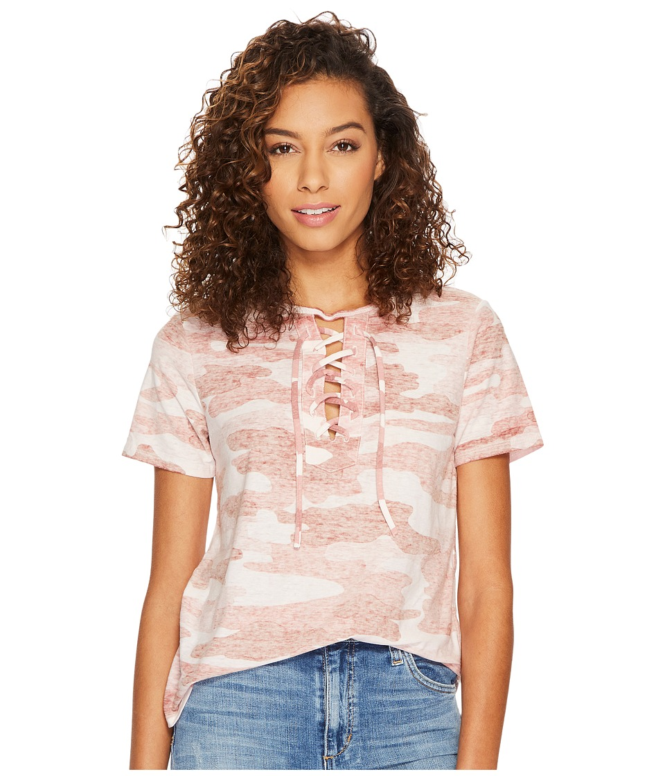 Lucky Brand Camo Lace-Up Tee (Pink Multi) Women