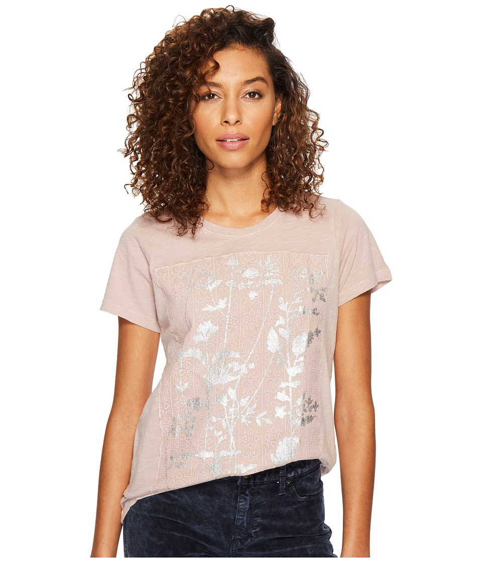 Lucky Brand Printed Lace Tee (Shadow Grey) Women