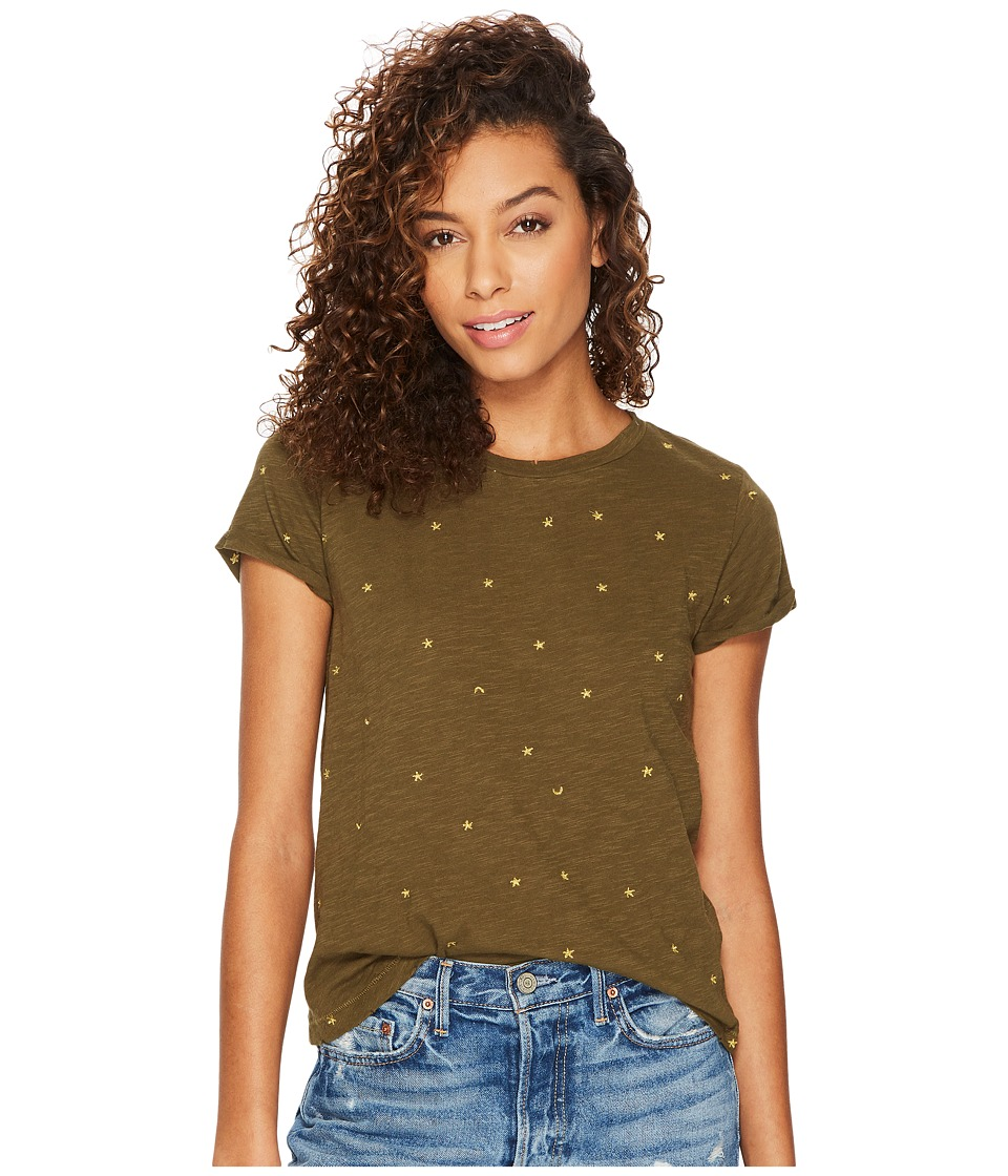 Lucky Brand All Over Embroidered Tee (Dark Olive) Women