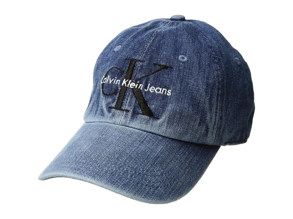 Calvin Klein Jeans Logo Denim Hat (Stone Wash) Caps
