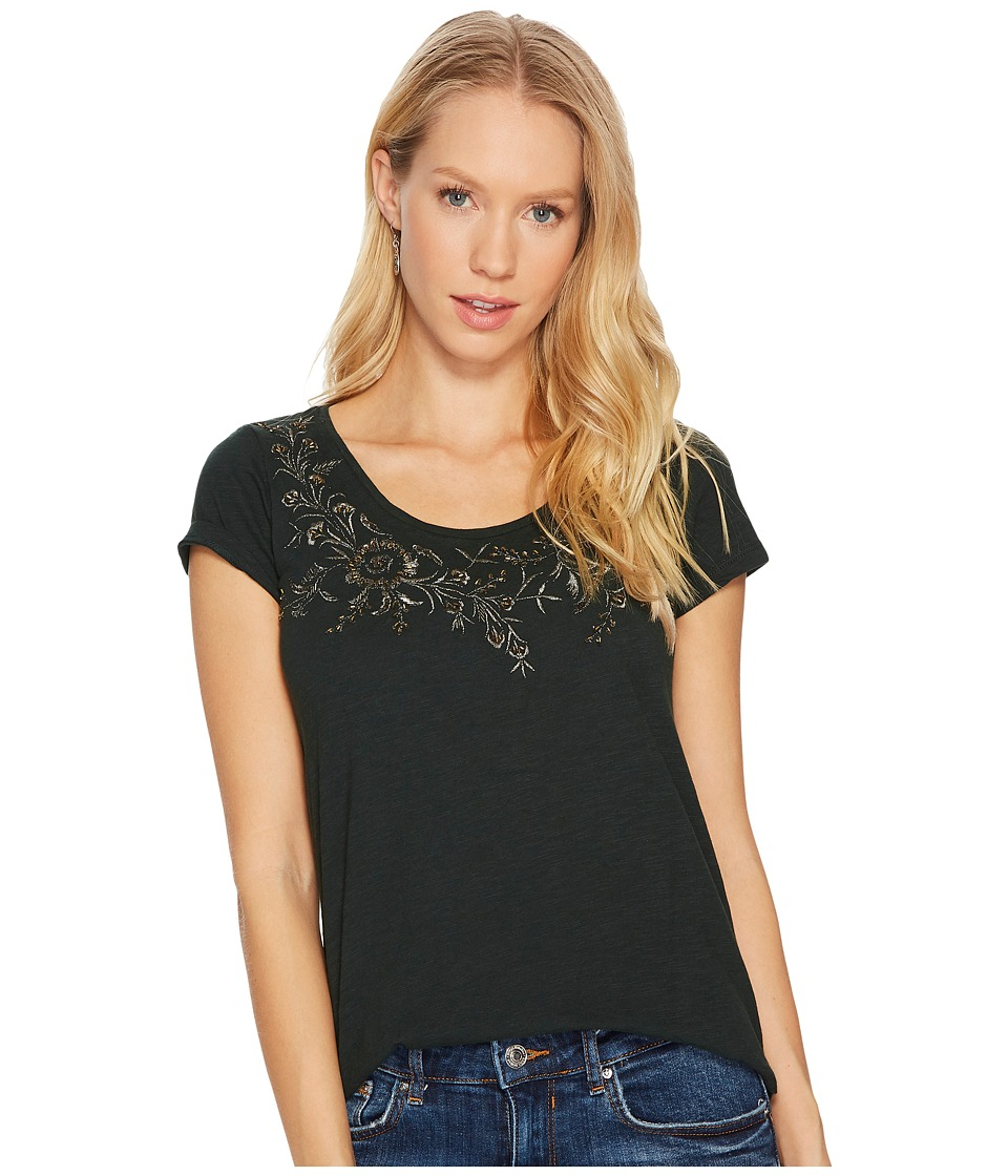 Lucky Brand Embroidered Flower Tee (Scarab) Women