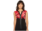 Calvin Klein Print Top with Faux Leather Chain