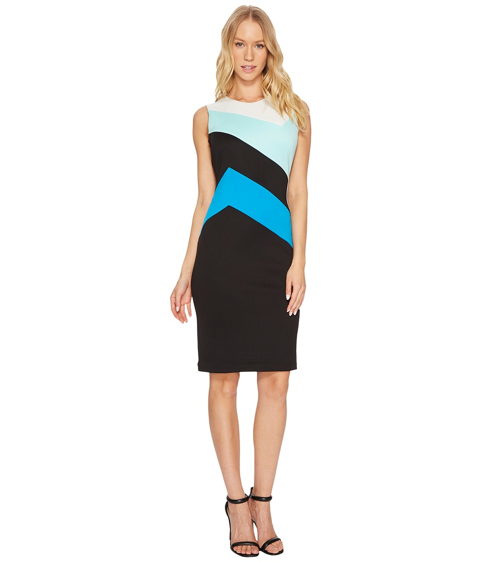 Calvin Klein Color Block Sheath Dress (Black/White/Black)...
