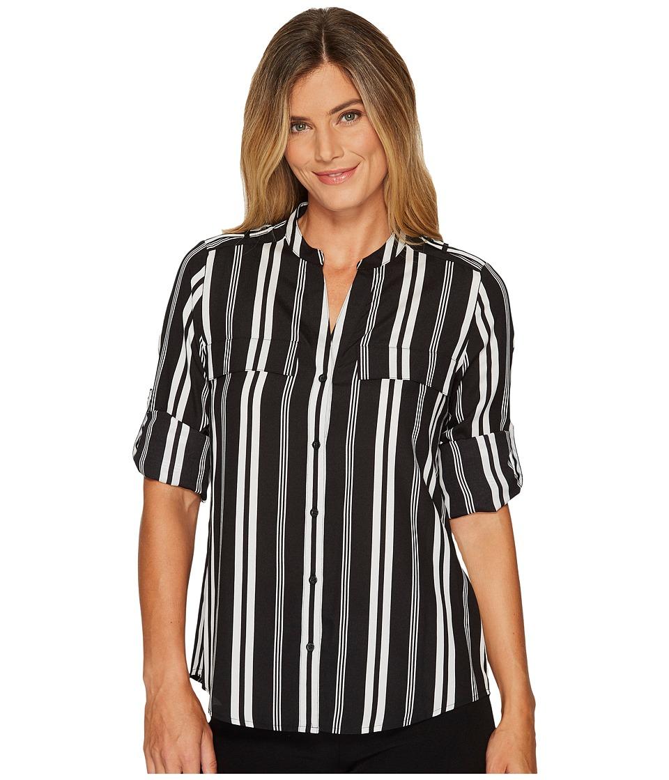 Calvin Klein Printed Crew Roll Sleeve Blouse (Black/Soft ...
