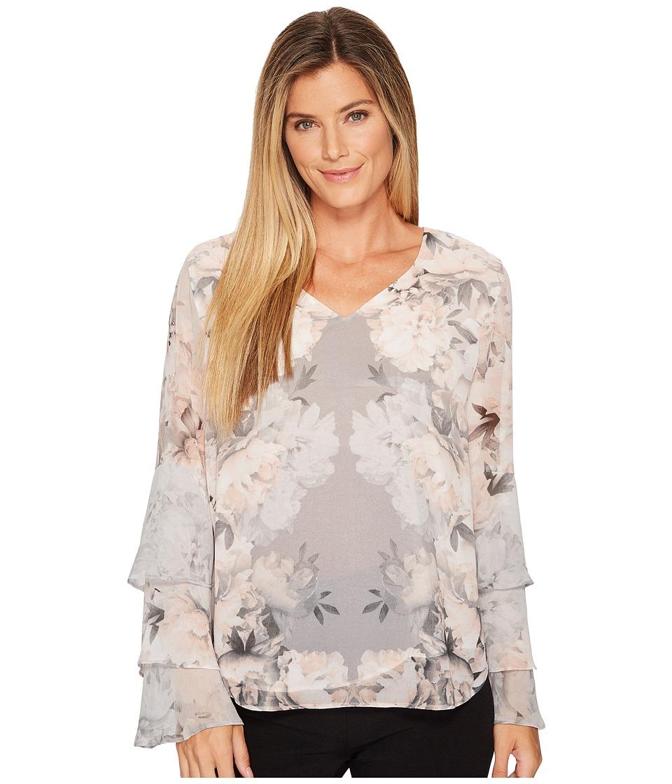 Calvin Klein Print Ruffle Long Sleeve Blouse (Tin/White) ...
