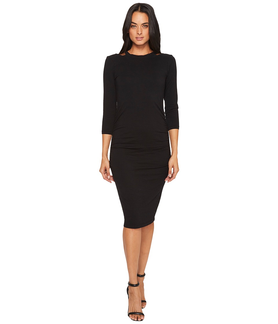 Michael Stars Cotton Lycra Round Neck Dress with Slashed Shoulders (Black) Women