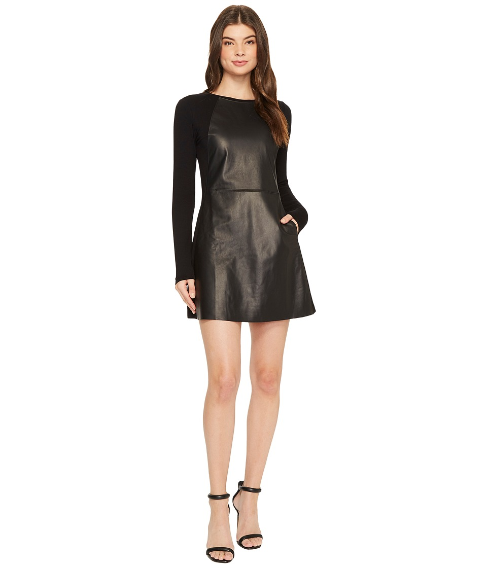 Michael Stars Leather Mix Long Sleeve A-Line Mini Dress (Black/Black) Women