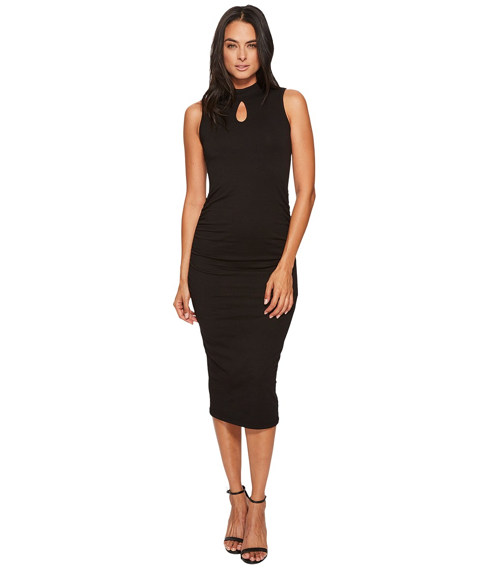 Michael Stars Cotton Lycra Mock Neck Sleeveless Dress (Black) Women