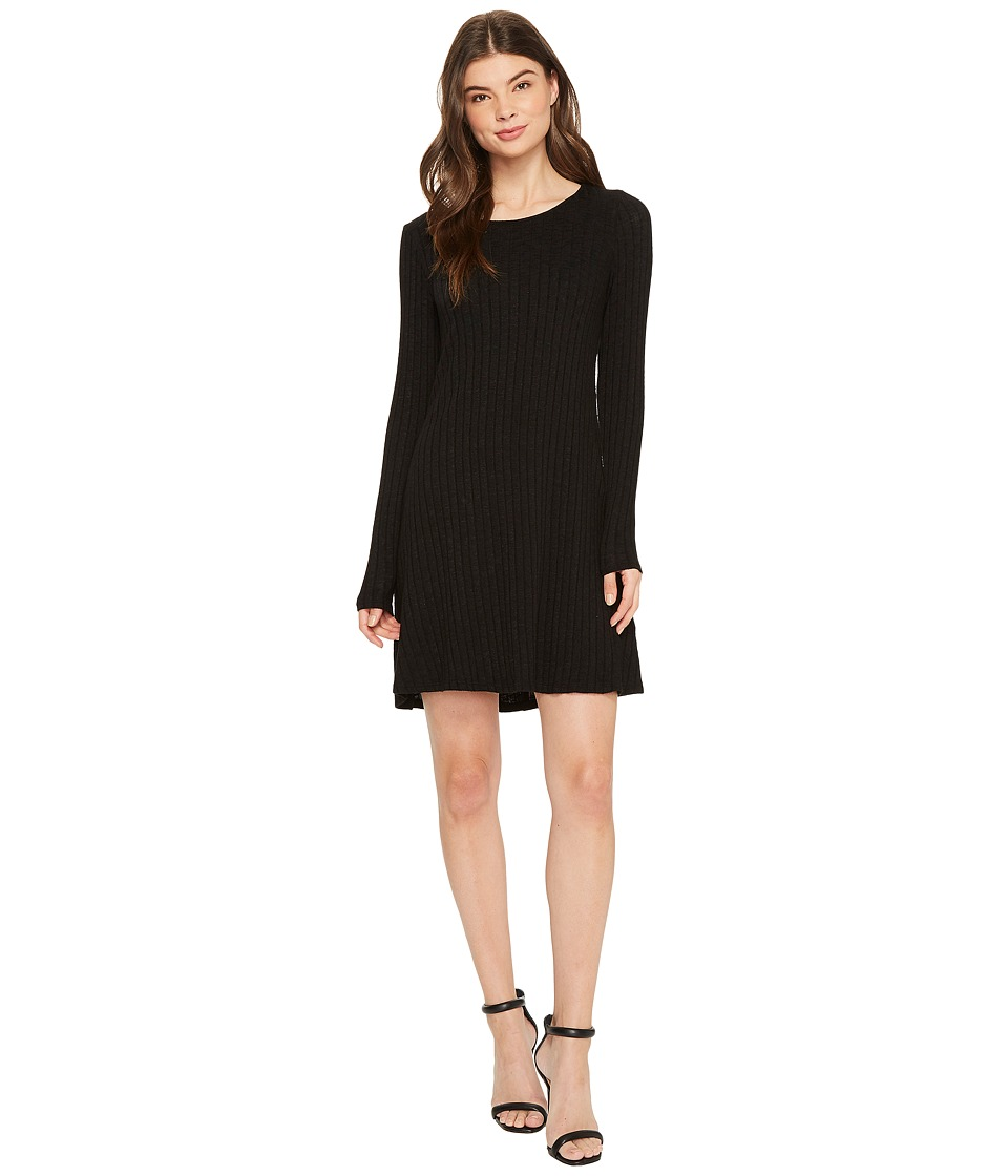 Michael Stars Jasper Poor Boy Rib Crew Neck Long Sleeve Dress (Black) Women