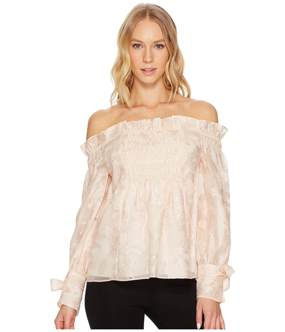 Rebecca Taylor - OS Floral Organza Top (Parfait) Womens Blouse