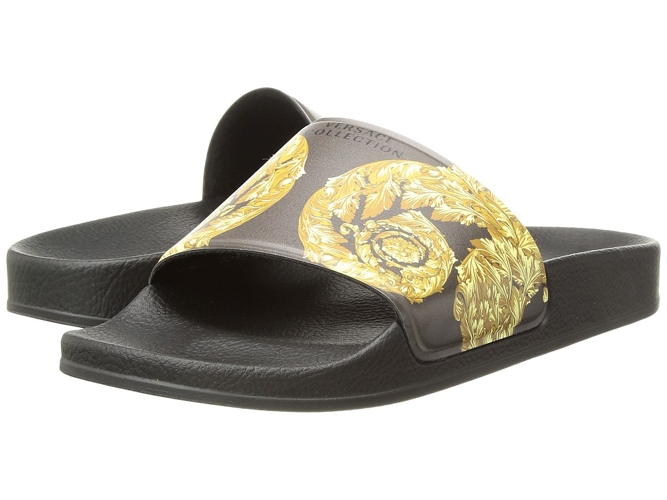 Versace Collection - Slipper Rubber Sole H.05 PVC St.Frieze (Multicolor Oro/Fondo Nero) Women's Sandals