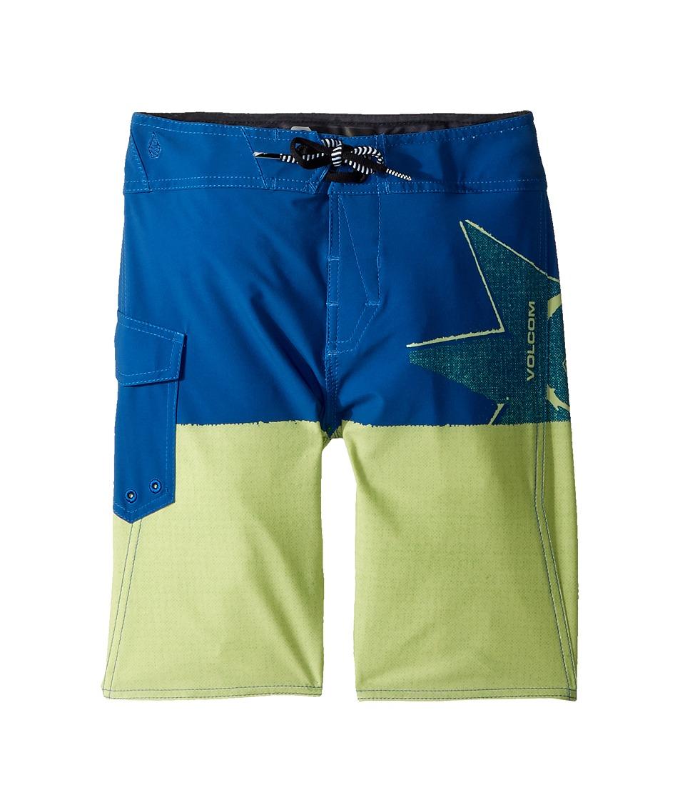 Volcom Kids Lido Block Mod Boardshorts (Big Kids) (Shadow Lime) Boy