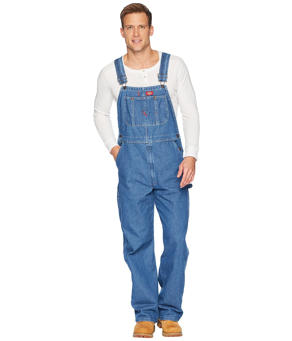 Dickies - Washed Denim Bib Overalls (Stonewashed Indigo Blue) Mens Overalls One Piece