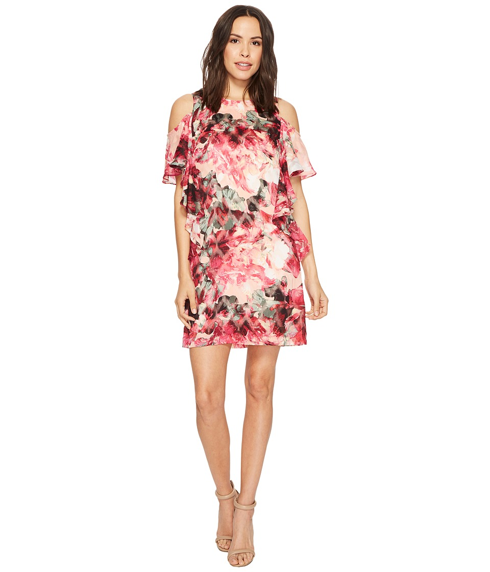 Tahari by ASL - Cascade Ruffle Printed Shift Dress (Peach/Magenta/Olive) Womens Dress