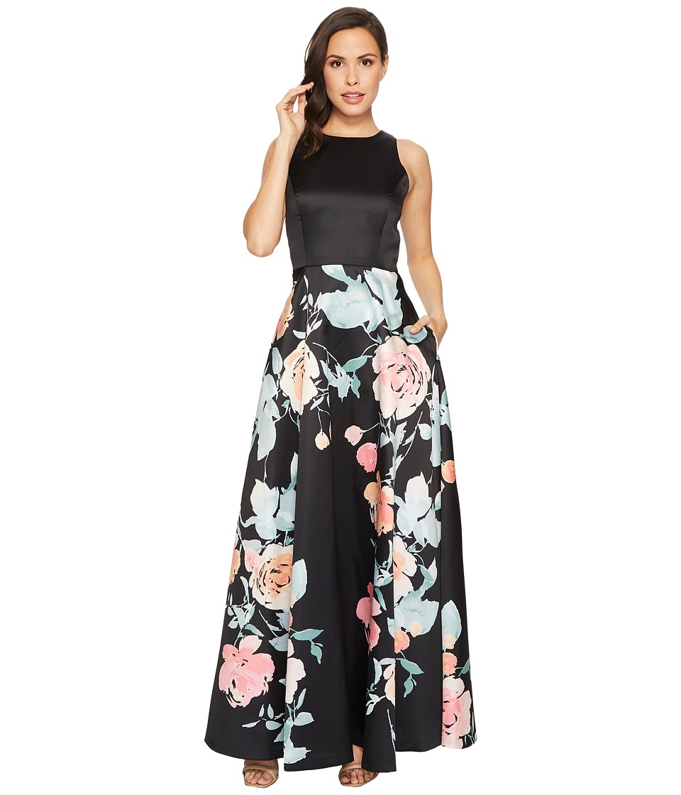 Tahari by ASL - Mikado Fit and Flare Floral Bottom Gown (Black/Blush/Sage) Womens Dress