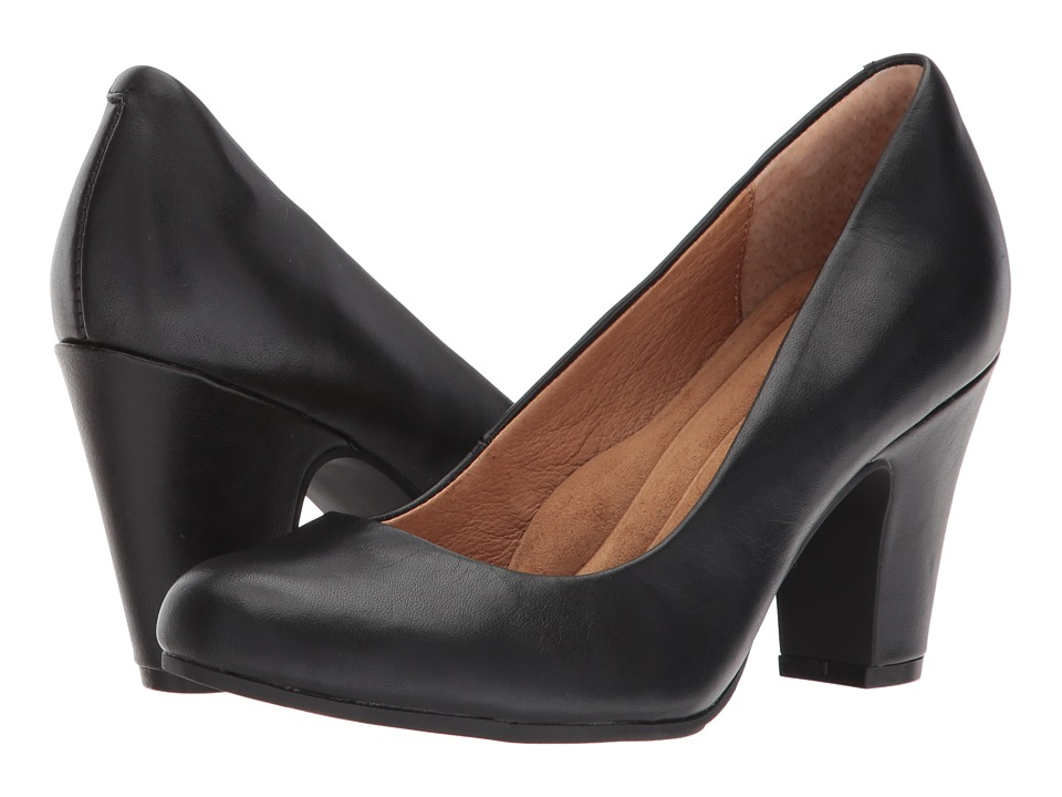 Sofft Madina (Black Cow Quilin) 1-2 inch heel Shoes