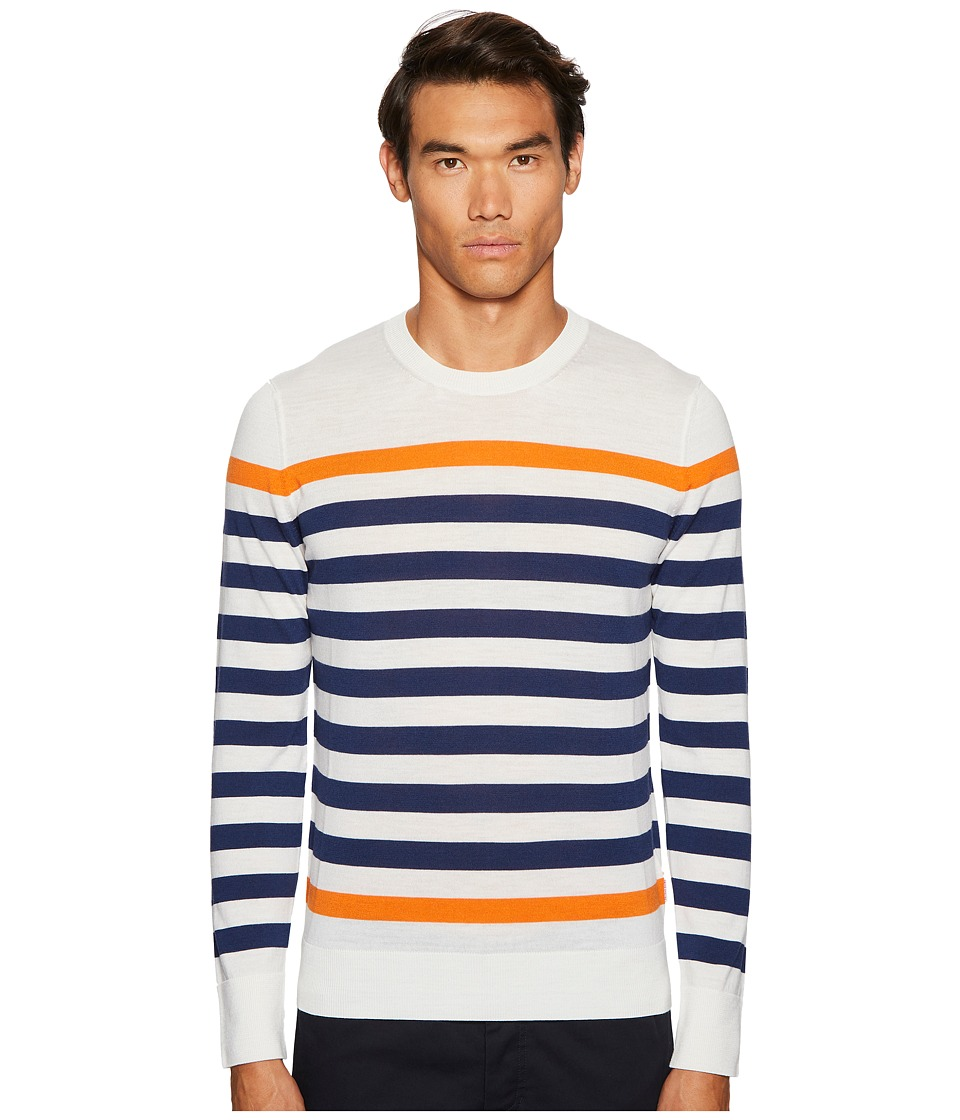 Orlebar Brown - Lucas Block Stripe Sweater (Cloud/Navy/Hazard) Mens Sweater