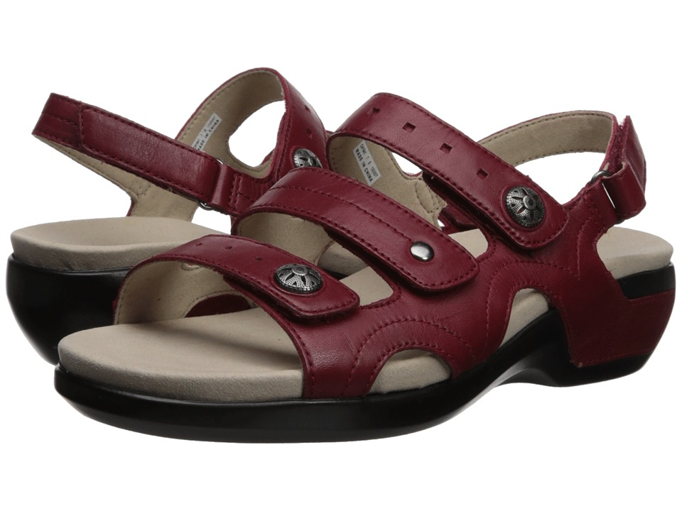 Aravon PC Three Strap (Rio Red Leather) Sandals