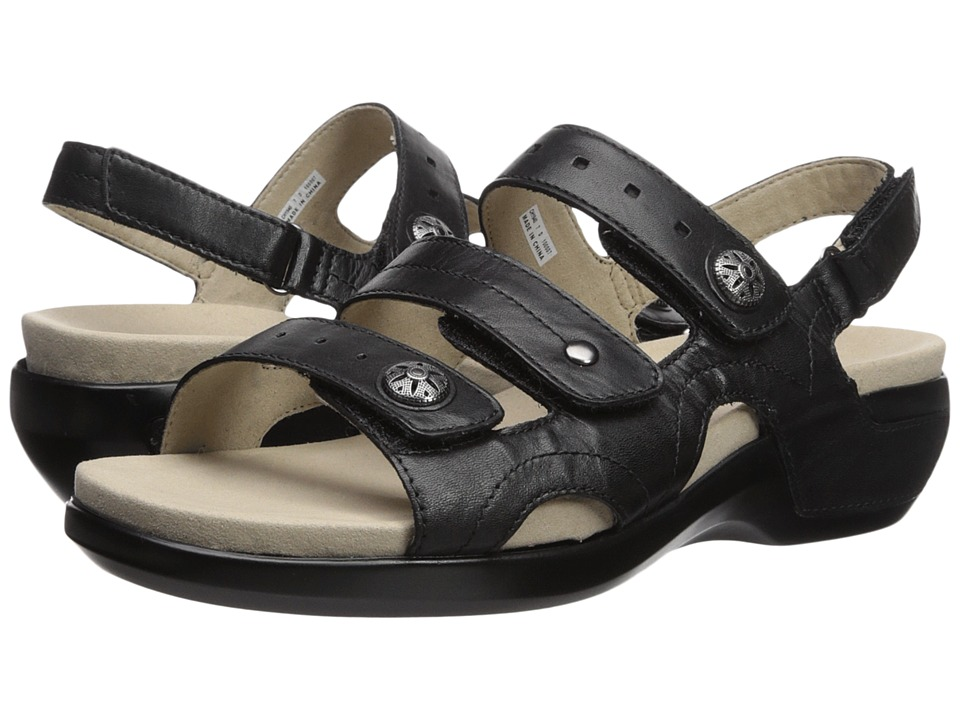 Aravon PC Three Strap (Black Leather) Sandals