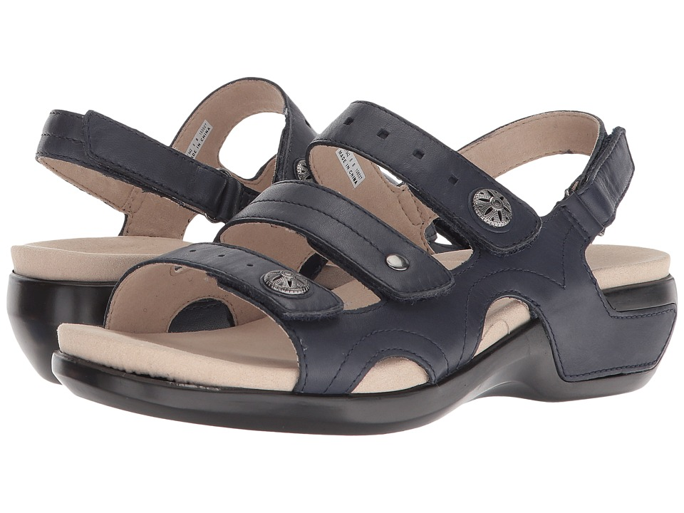 Aravon PC Three Strap (Navy Leather) Sandals