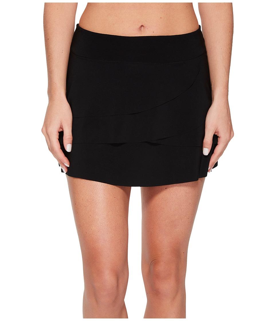 Miraclesuit Layered Ruffle Skirt Bottom (Black) Women