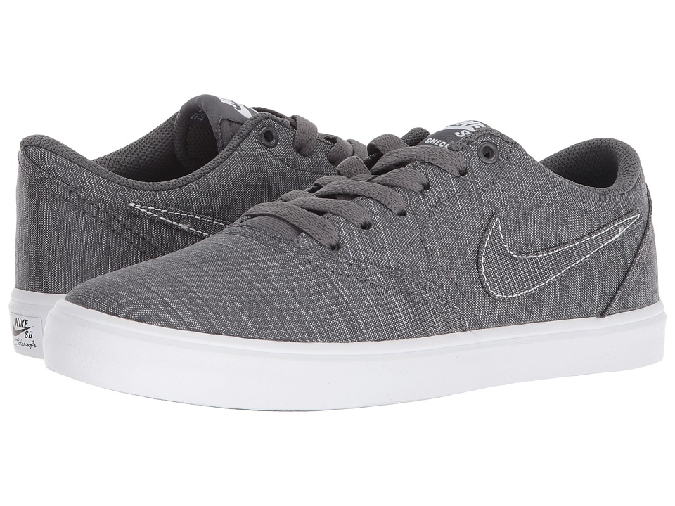Nike SB Check Solarsoft Canvas Premium (Dark Grey/Dark Grey/White) Women's Skate Shoes