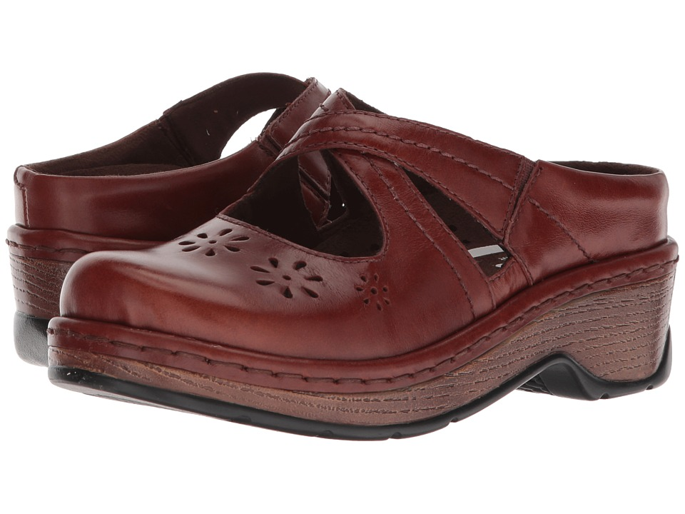 Retro Vintage Flats and Low Heel Shoes Klogs Footwear Carolina Cognac Tintoretto Womens Clog Shoes $119.95 AT vintagedancer.com