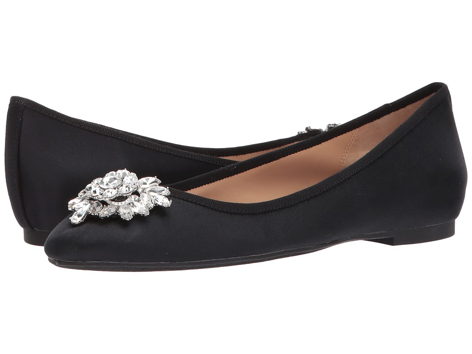 Badgley Mischka - Bianca (Black Satin) Womens Flat Shoes