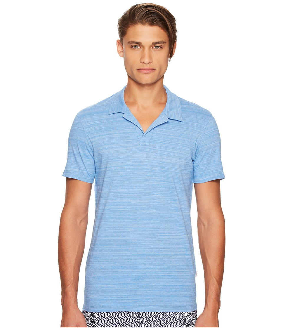 Orlebar Brown - Felix Polo (Heron/Powder Blue Melange) Mens Clothing