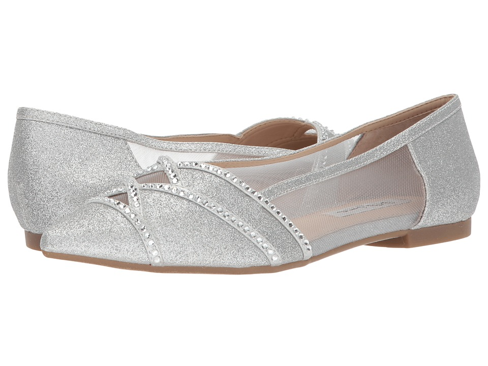 Vintage Inspired Wedding Dress | Vintage Style Wedding Dresses Nina Kiyrah SilverTrue Silver Micro GlitterReflective SuedetteMesh Womens Flat Shoes $69.00 AT vintagedancer.com