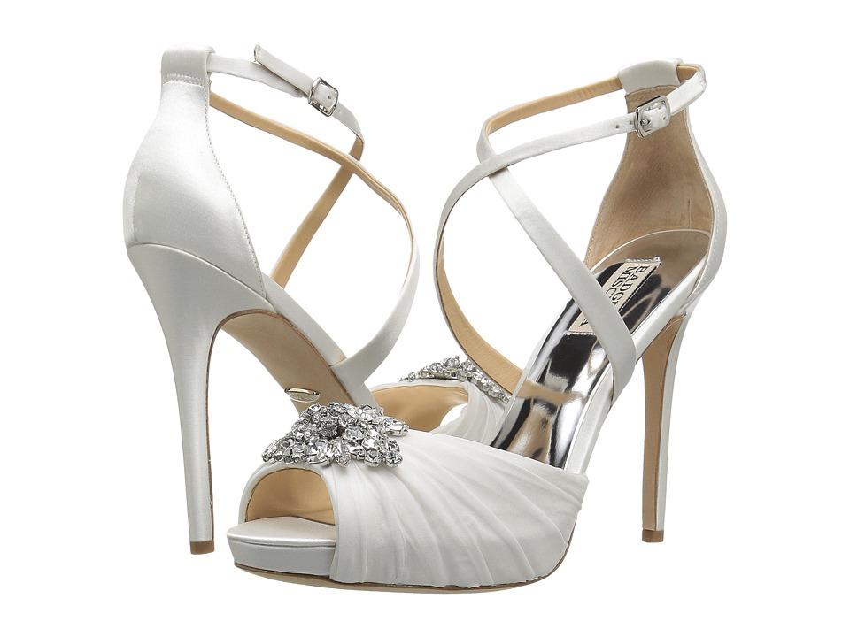 Badgley Mischka Sadie (White Satin/Chiffon) High Heels