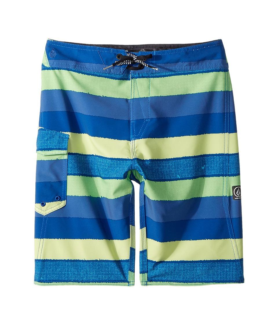 Volcom Kids - Magnetic Liney Mod Boardshorts (Big Kids) (Shadow Lime) Boys Swimwear
